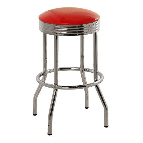 DRW - 2 taburetes Estilo Retro Diner de Metal con Asiento PVC Rojo 40,5x71cm