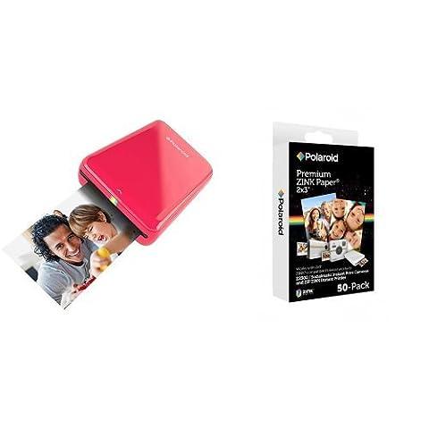 Polaroid ZIP Mobile Printer (Red) w/ Polaroid 2x3 inch Premium ZINK Photo Paper (50 sheets) (Photo Printer For Iphone 6)