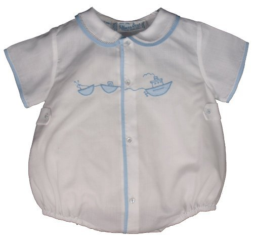 ant Baby Boys White Bubble Outfit with Embroidered Tugboat-Newborn ()