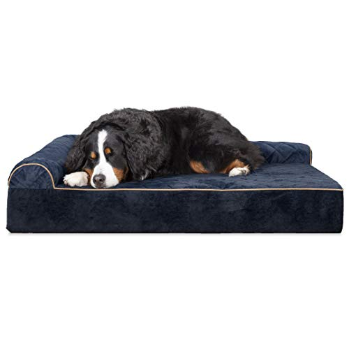 Furhaven Pet Dog Bed | Deluxe Orthopedic Goliath Quilted Faux Fur & Velvet L Shaped Chaise Lounge Living Room Corner Couch Pet Bed w/ Removable Cover for Dogs & Cats, Dark Blue, 3XL