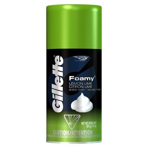 Gillette Foamy Lemon Lime Shaving Cream 11 oz (Pack of 6)