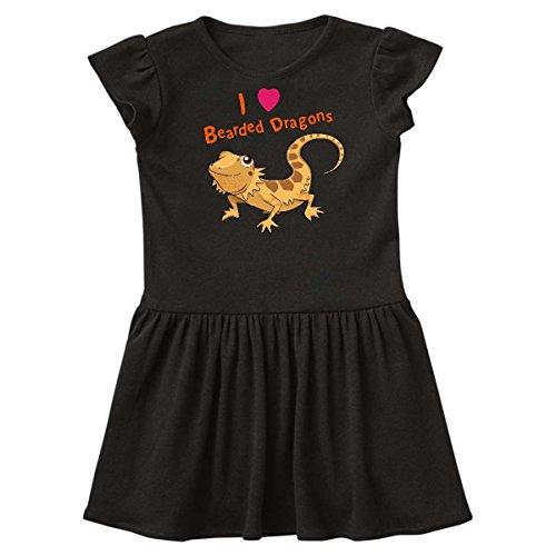 03472b3d4fe inktastic - I Love Bearded Dragons Toddler Dress 3T Black 28867