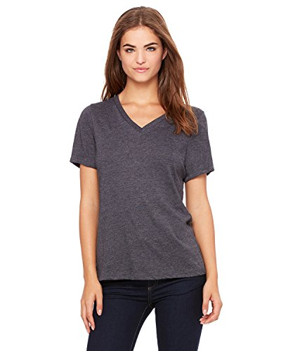 Bella + Canvas Ladies' Relaxed Jersey V-Neck T-Shirt, Dark Grey Hthr, X-Large
