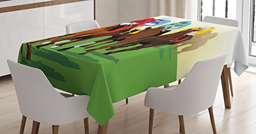 Covers Horse Racing (Ambesonne Horse Tablecloth, Vibrant Colorful Competitive Scene with Jockeys Racing Horses Equine Retro Artwork, Dining Room Kitchen Rectangular Table Cover, 60