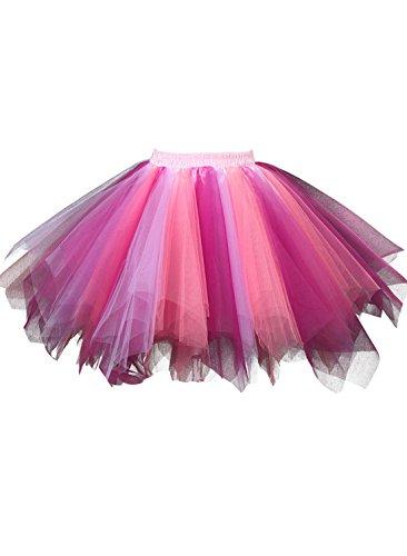 Kileyi Women's Tutu Costume Adult Tulle Skirt Short 1950s Vintage Petticoat Coral Fuchsia S (Tootsie Roll Girls Costume)