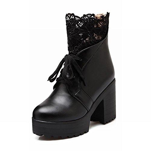Carolbar Mujeres Zipper Lace Up Fashion Lace Voile Mesh Elegance Plataforma Botas De Tacón Alto Negro