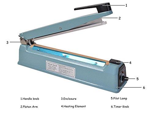 Super buy 12'' Heat Sealing Hand Impulse Sealer Machine Poly Free Element Grip& Teflon by Goplus (Image #4)