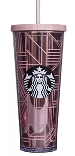 Starbucks 2017 Holiday Rose Gold Lines 24 oz Venti Cup Tumbler Lid Straw