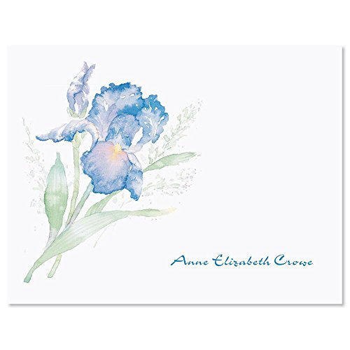 Iris Personalized Note Cards (Set of 12 Cards with White Envelopes)