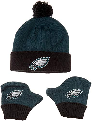 OTS NFL Philadelphia Eagles Pow Knit Cap & Mittens Set, Pacific Green, Infant -