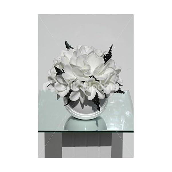 Silk Blooms Ltd Real Touch White Frangipani Plumeria Round Vase Table Display