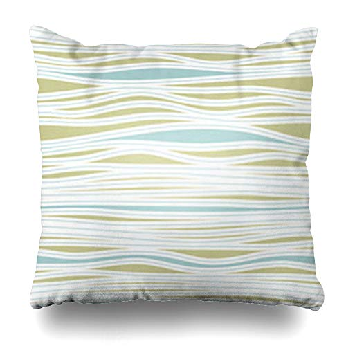 HomeOutlet Throw Pillow Cover Summer Modern Stripes Abstract Geometric Beach Lagoon Breeze Creative Curve Delicate Stripe Pillowcase Square Size 18 x 18 Inches Home Decor Sofa Cushion Case