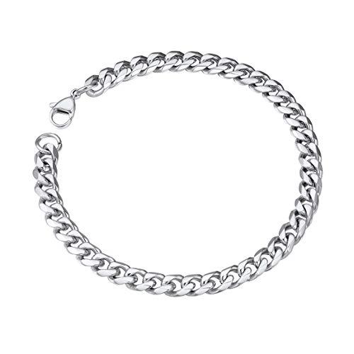 (Chain Bracelet Men 6mm 21CM Women Curb Link Chain Bangle Gift for Boy Dad)