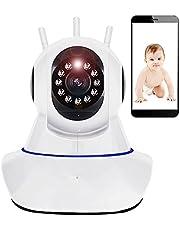 Retoo Bewakingscamera voor binnen, WLAN IP HD 720P met supergroothoek, 355 graden verticaal en 120 graden horizontaal, camera voor baby's met SD-kaartsleuf tot 128 GB, compatibel met smartphone, thuiscamera