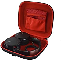 Headphones Case for B&O Play H2, H6, H7, H8, AKG K545, K619, ATH-M50X, ANC29, ESW10, WS77, SONY MDR-XB950BT, MDR-XB900 and More / Hard Shell Carrying Case / Headset Travel Bag (Black / Red)