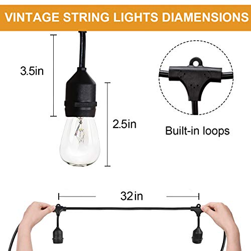 Amico 2 Pack 52FT Outdoor String Lights: Commercial Grade Weatherproof Yard Lights, 11W Dimmable Incandescent Bulbs, UL Listed Heavy-Duty Decorative Patio Bistro Market Café Lights by Amico (Image #2)