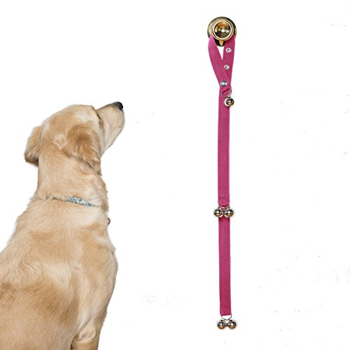 Potty Training Bells Help New Puppies & Older Dogs Learn Good House Manners | Adjustable Loop & Length Fits Every Size Dog & All Door Handles ... (Pink) (Ball Gate)