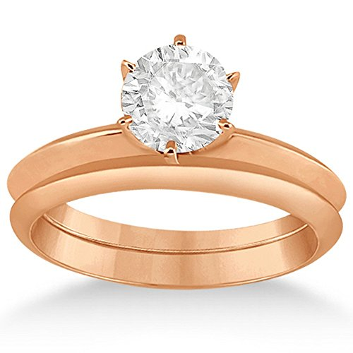 Semi Mount Engagment Ring (Six-Prong Knife Edge Solitaire Engagment Ring Set 14k Rose Gold)