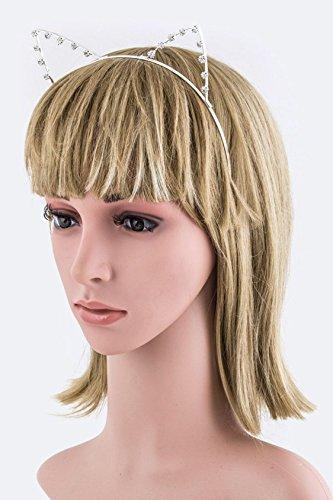 [Chic Chelsea Crystal Cat Ears Headband (Rhodium)] (Pyramid Head Costume Price)