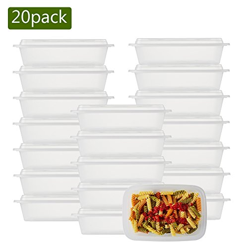 NutriBox [20 Value Pack] Single 1 compartment 28 OZ Clear Meal Prep Plastic Food Storage Containers with lids- BPA Free Reusable Lunch Bento Box - Microwave, Dishwasher and Freezer Safe (20)