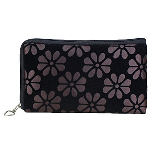 Damen-Blume Drucken Wallet Kosmetik Coin Handy Make-up Pouch Bag Coffee AojkRFP5