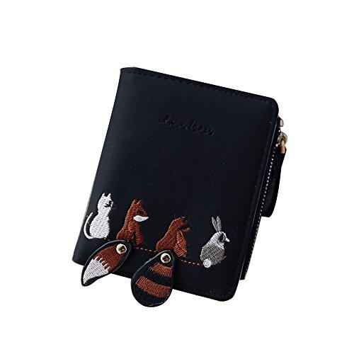 JJLIKER Fox Cartoon Wallet Bifold Mini Vintage Zipper Card Holder Compact Wallet Women Coin Leather Purse