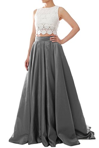 MACloth Women Two Piece O Neck Lace Long Prom Homecoming Dress Evening Ball Gown Gris