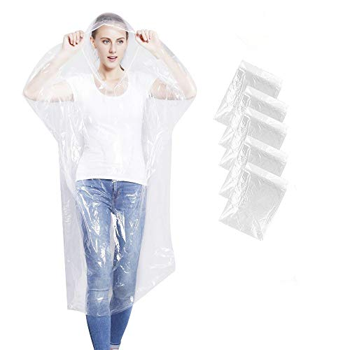 KASU Emergency Rain Ponchos, Disposable Extra Thick Rain Gear for Outdoors, Theme Parks, Hiking, Camping, School Sporting Corporate Events Group Activity - Bulk Pack of 5, Clear ()