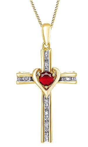 Jewel Zone US Pink Simulated Ruby & White Natural Diamond Two Tone Cross Pendant in925 Sterling Silver (0.33 Cttw)