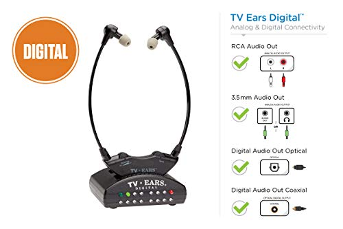 TV Ears Digital Wireless Headset System, Connects to Both Digital and Analog TVs, TV Hearing Aid Device for Seniors and Hard of Hearing, Voice Clarifying, Dr Recommended-11741 ()