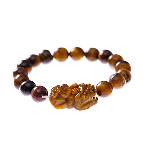 - Prime Fengshui Porsperity Feng Shui 10mm Tiger Eye Stone Beads Elastic Bracelet with Pi Xiu/Pi Yao Attract Wealth and Good Luck