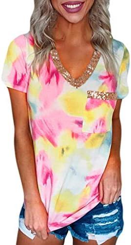 Meikosks Sequin Tee Tops Womens Leopard Print T Shirt V-Neck Short Sleeve Blouses Patchwork Tees
