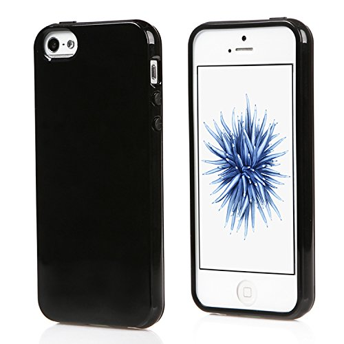 iPhone SE Case or iPhone 5S Case,Ultra Slim Silicone TPU Cover and Gloss Gel Flexible Soft bumper(Black)