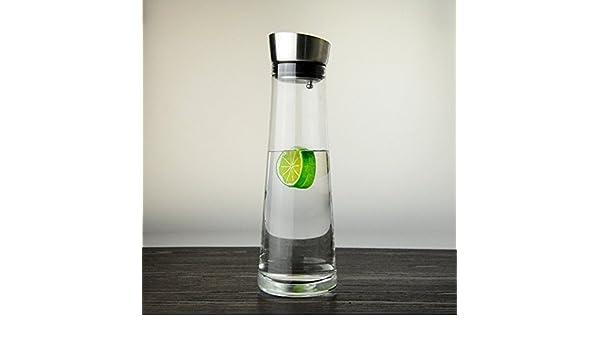 Botella pote de cristal de Bohemia Refrigerados de vidrio a prueba de calor de acero inoxidable de cristal transparente y vidrio para beber agua de ...