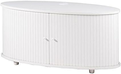Tousmesmeubles Meuble Tv Blanc A Rideau Coulissant N 5 Sprint L 111 X L 46 X H 51 Neuf Amazon Fr Cuisine Maison