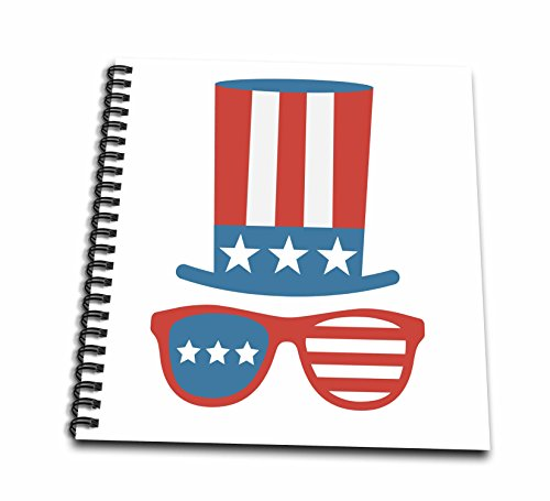 3dRose Xander inspirational quotes - Red White and blue Uncle Sam hat with sunglasses - Drawing Book 8 x 8 inch - Sams Sunglasses