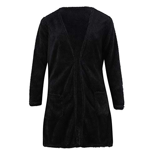 Blouse Womens Colour Fleeve Jacket Black Loose Outwear Long Lazzboy Wool Cardigan Pockets Pure Sleeve Warm Coat up UgqnwR