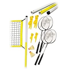 Enjoy time outside with this complete badminton set from Franklin. This portable set is great for the beach, parties and backyard fun. Ideal for two to four players, this badminton set is easy to set up and is appropriate for all skill levels...