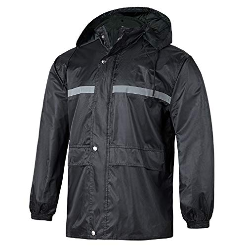 GEEK LIGHTING Men's Hooded Windproof and Waterproof Jacket Heavy Zipper with Buttons Rainwear B-Black-Coat - Waterproof Windproof Jackets