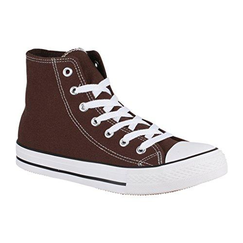 Elara Unisex Sneaker | Sport Scarpe Per Uomo Donna | High Top Sneakers Tessile Scarpe 36–47 Brown Basic (Fällt Größer Aus)