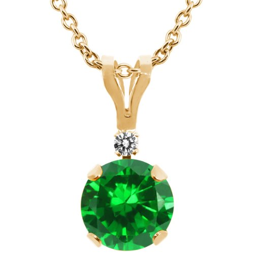 1.52 Ct Round Diamond (1.52 Ct Round Green Simulated Emerald White Diamond 14K Yellow Gold Pendant 18