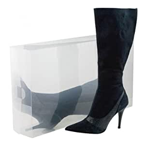 8 Pack Long Boot-Size Clear Foldable Plastic Storage Box Container for Closet Organizer