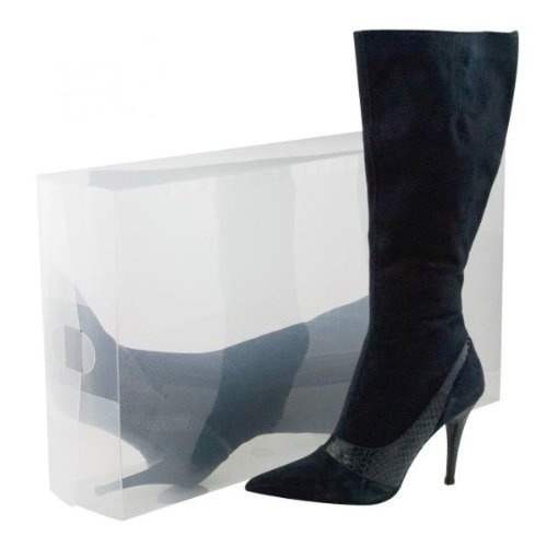 8 Pack Long Boot-Size Clear Foldable Plastic Storage Box Con