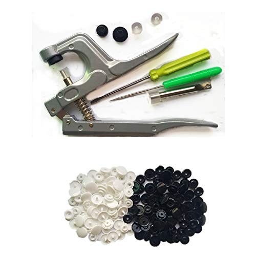 (Snaps Plastic Snaps Buttons Hand-held Pliers Tool Installs Size 20, 22, 24 T5 No-Sew Button Snap Fastener Press Attacher Punch for Snaps (Pliers & 100 White Snaps & 100 Black Snaps))