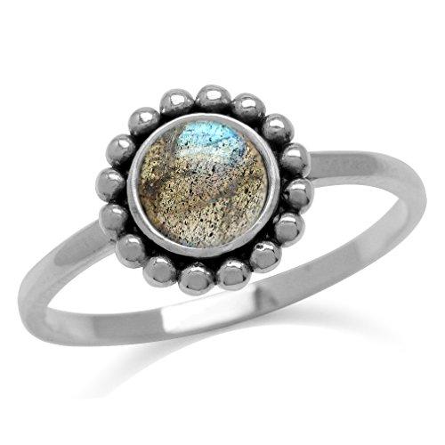 Natural Labradorite 925 Sterling Silver Bali/Balinese Style Ring Size - Silver Bali Sterling Style Ring