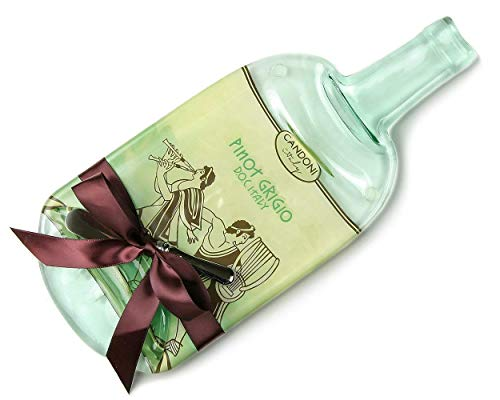 Large Candoni Pinot Grigio Melted Wine Bottle Cheese Plate with Cheese Spreader - Melted Glass Bottle Cheese