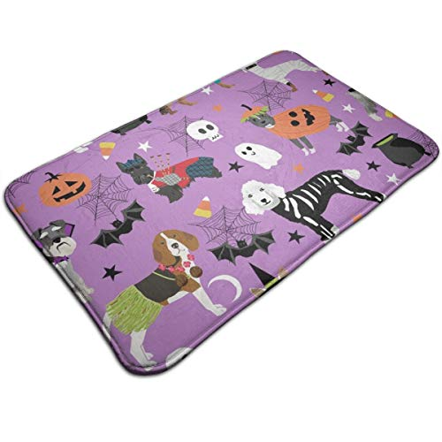 Dogs in Halloween Costumes - Dog Breeds Dressed Up Fabric - Purple_232 Mat Ultra Absorbent Soft Floor Mat, Pet Bed Mat/Rug for Dogs & Cats, Bathroom Non-Slip Doormat, Machine-Washable,19.531.5 Inch -