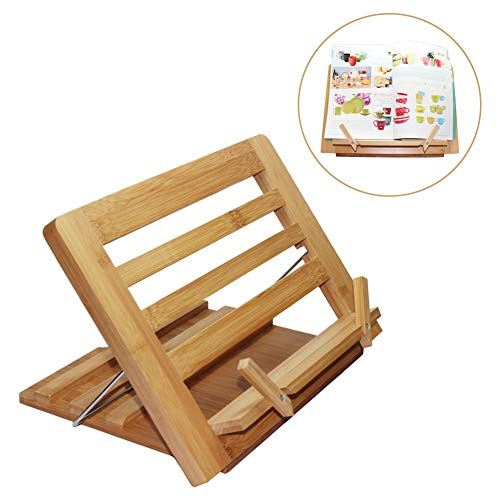 Bamboo Book Stand, Adjustable Reading Cookbook Recipe Holder Tray with Page Paper Clips, Foldable Station for Tablets, Cell Phones, Laptop Stands - Pezin & ()