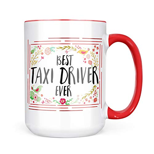 - Neonblond Custom Coffee Mug Happy Floral Border Taxi Driver 15oz Personalized Name