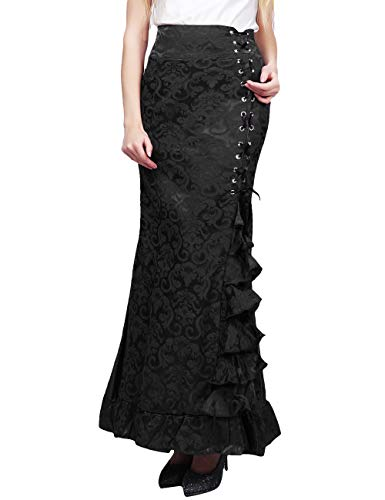 ECDAHICC Women's Vintage Victorian Steampunk Ruffled Fishtail Mermaid Skirt (Black,XL)